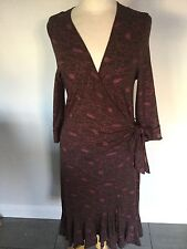 Sticky Fingers Brown Patterned Wrap Dress Size L (but small) Good Condition.