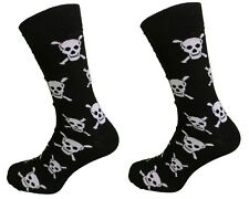 Mens 2 Pair Pack of Skull and Crossbones Socks