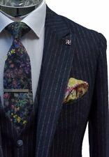 Cavani Premium Men's Navy Pin Stripe Tweed Three Piece Suit - Clearance Price