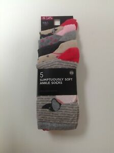 M&S MARKS AND SPENCER Womens Cotton Dashhound  5 Pairs Dogs Animals Socks Ankle
