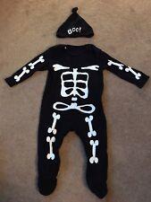 Squelette Baby Grow & Chapeau Halloween Déguisements tenue George UK 6-9 mois très bon état!