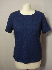 Country Casuals petite blue & navy textured print top M (12-14)