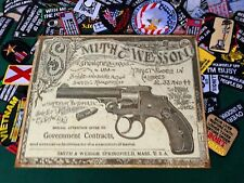 Smith and Wesson Government Contracts Tin Metal Sign Revolvers W/ FREE PATCH USA
