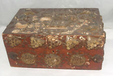 ANTIQUE FOLK ART DOCUMENT BOX APPLIED THEOREM STYLE DECORATION BIRDS GRAPES