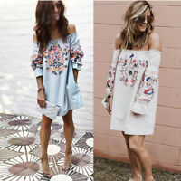 Womens Bohemian Floral Dress 2 Colors Summer Beach Party Off Shoulder Mini Dress