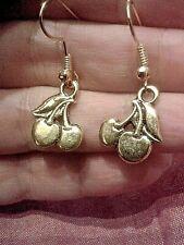 QUIRKY STEAMPUNK  GOLDEN CHERRIES EARRINGS KITSCH RETRO VINTAGE FUN & FUNKY