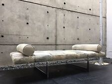 Modernist Daybed Grey Brindle Brazilian Cowhide Leather Designer Chaise MCM