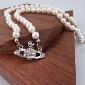 Vivienne Westwood Pearl Necklace Mini Bas Relief Choker Silver Pendant