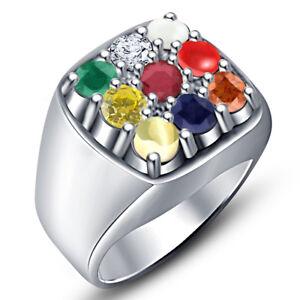 14K White Gold Over Multi Color Stone Navaratri Collection Fashion Men's Ring