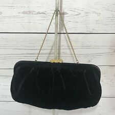 Vintage Black Velvet Clutch With Gold Chain Strap
