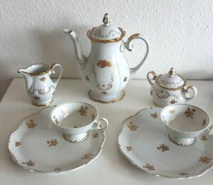 Kaffeeservice Weimar petit dejeuner goldene Rose 7tlg. Herrengedeck RARITÄT