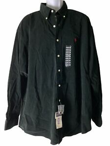 Mens Ralph Lauren Blake Corduroy Black Shirt Button Up Size XXL Small Flaw