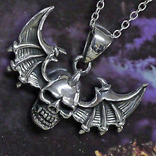 Skull Anhänger Totenkopf Drachenkralle 925 Silber Gothic Biker mit Lederriemen