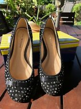 BN IN BOX *ZOE WITTNER BLACK LEATHER BALLET FLATS with SILVER STUDS Size 5.5