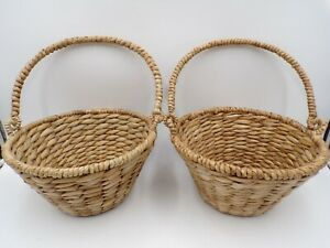 """Pottery Barn Kids Natural Seagrass Easter Basket Small 14"""" S/ 2 #7204"""