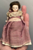 """Early Antique German 6"""" Bisque Dollhouse Doll Painted Eye Stiff Neck Early Dress"""