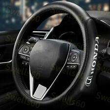 "Black 15"" Diameter Car Steering Wheel Cover Genuine Leather For ALL HONDA ACCORD"