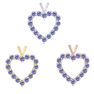 2.00 Ct Round Cut Tanzanite Heart Pedant Necklace 18K Gold Over Valentine Gifts