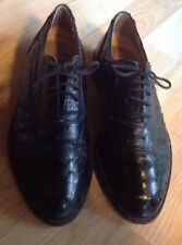 Womens 9-1/2 Vintage Genuine Ostrich Oxford Shoes, Black, Cesare Paciotti, Italy