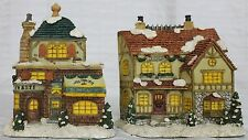 2 Shelf Wall Christmas Houses Flat Back Light up Holes Ms Molleys Sweets Bakery