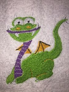 Embroidered White Bathroom Hand Towel- Quirky Dragon  Green/Purple/Gold HS0988