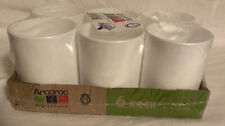 Set 6 Arcoroc Restaurant Ware Bock White Stackable Mug Mugs