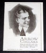 1919 OLD MAGAZINE PRINT AD, CLUETT PEABODY ARROW COLLARS, ROOM FOR NECK COMFORT!