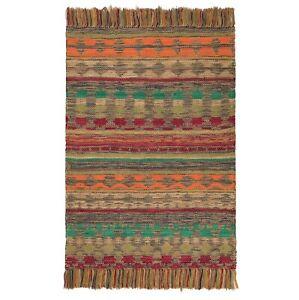 90 x 150cm Handmade Geometric Cotton Jute Tribal Floor Dhurrie Rug Indian Mat