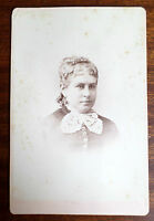 Antique 1880s Cabinet Card of Victorian Woman, Floral Back Imprint, Cleveland OH