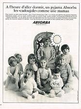 PUBLICITE ADVERTISING 074  1969  ABSORBA    pyjamas enfants CADOUJOLE