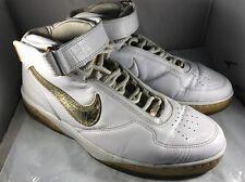 2008 Nike Air Force 25 Metallic White Gold Leather 315015-171 Men's Size 12