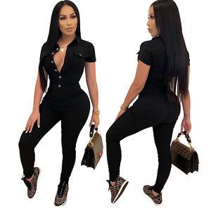 Fashion New Women's Single Breasted Short Sleeve Patchwork Skinny Denim Jumpsuit
