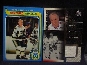 2000-01 upper deck legends legendary game jersey gordie howe/1979 topps card 175