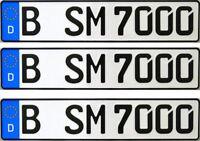 3 Stk Kfz Kennzeichen, Autoschilder, Nummernschild für Anhänger, Fahrradanhänger