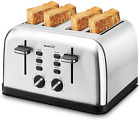 Toaster 4 Slice, Geek Chef Extra Wide Slot, Retro Stainless Steel Toaster