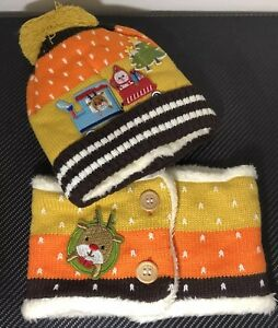 NEW 2pcs Set Hat Scarf Child kids Baby Girl Winter Warm Knitted Beanie Yellow