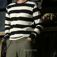 NON STOCK Prison Striped Long Sleeve Tee Shirts Slim Fit Mens Motorcycle T-Shirt
