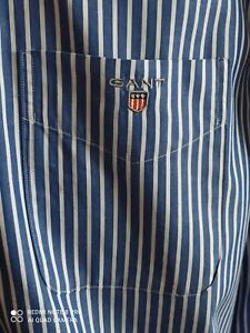 "Gant Designer mens blue white striped shirt size L/48"" excellent"