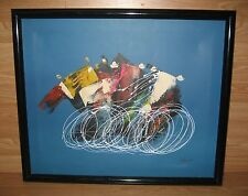 Tour de France the Abstract Framed Painting on Canvas Signed by Lefernet *READ*