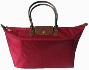 Womens Girls Nylon Tote Shopper School Foldable Bag Size XLarge Red