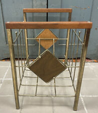 Vintage MCM Teak & Gold Wire Record Album Atomic Era Rack Magazine Stand