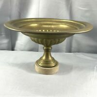 Vintage Fruit Candy Serving Bowl Stand Dish Pedestal Tall Base BRASS Granite