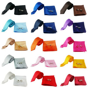Men's Satin Solid Bowtie Necktie Handkerchief Set Bow Tie Pocket Square Lot