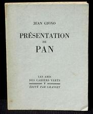 Giono Présentation de Pan Grasset, cahiers verts 1930 Numéroté Madagascar 11