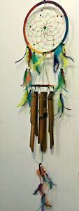 Dream Catcher Wind Chime Cute Gardening Home Hang Decor Feather and Bamboo