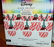 """25 Disney Magic Holiday """"Red & White Stripe"""" Mickey Mouse Ear LED Lights GEMMY"""