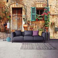 Fototapete XXL Strasse Stadt Blumen Italienische Gasse Wohnzimmer Tapete Stein 2