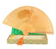 Vintage Peacock Carved Sandalwood Chinese Fan