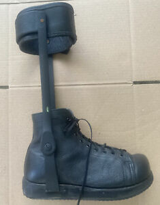 Leather Shoe Boot Ankle Foot Drop Polio ALS RIGHT leg Brace SUPPORT Sz 8.5 EE