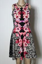 H&m vestido talla S negro-rosa-crema rodilla largo sin mangas flores strech camisa vestido